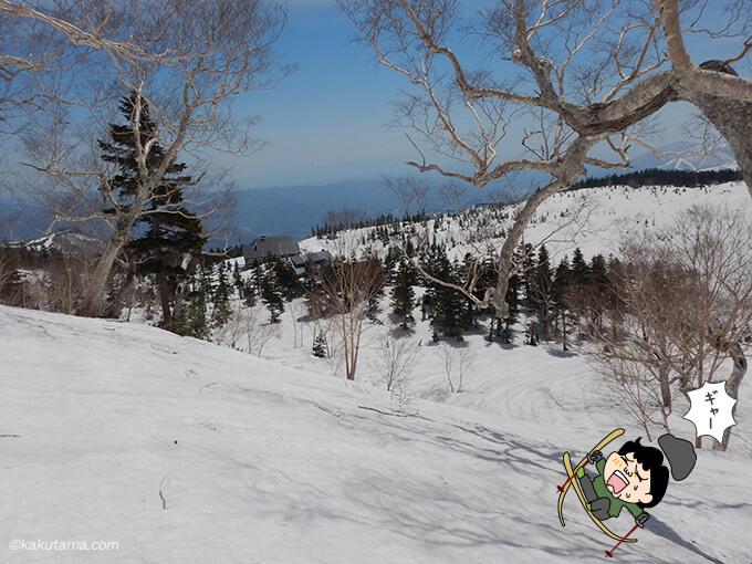 解けた雪で滑る