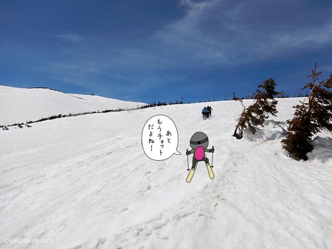 ひたすら雪面を登る