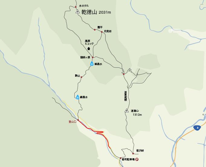 地図駐車場から乾徳山登山口まで