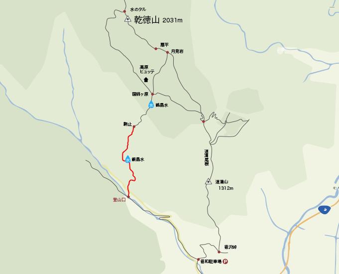 地図乾徳山登山口から駒止まで