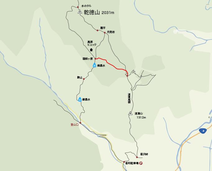 地図国師ヶ原から道満尾根入り口まで