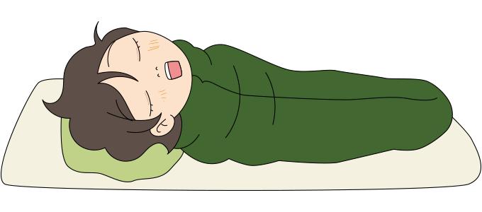 寝袋で眠る