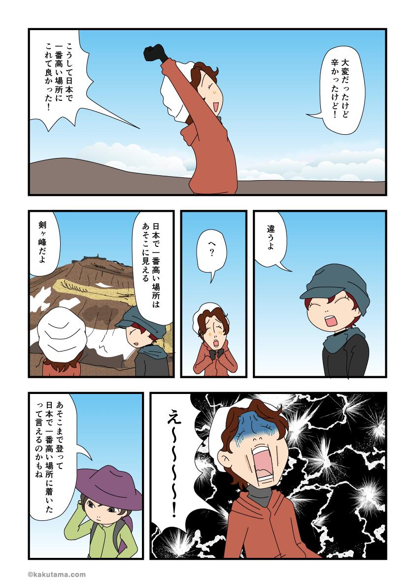 富士山山頂だと喜ぶがじつは違う漫画
