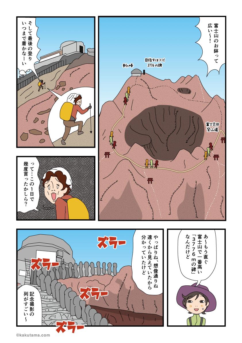 お鉢巡りをして剣ヶ峰につく漫画