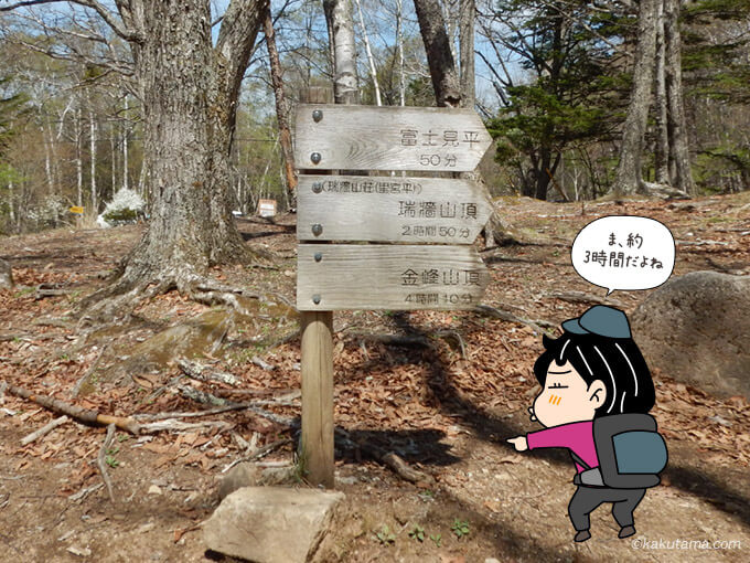 瑞牆山荘手前の道標