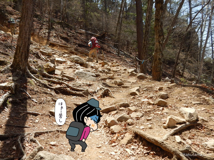 瑞牆山荘からのコースは登りが続く2