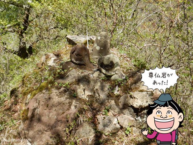 尊仏岩を発見