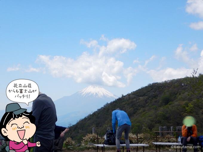 花立山荘まえで富士山