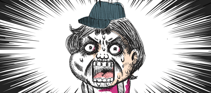 叫ぶ顔のイラスト