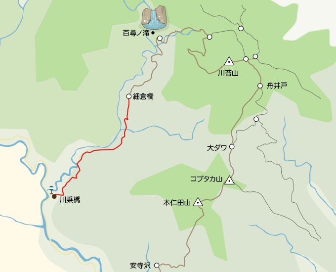 川苔山地図川乗橋から細倉橋まで