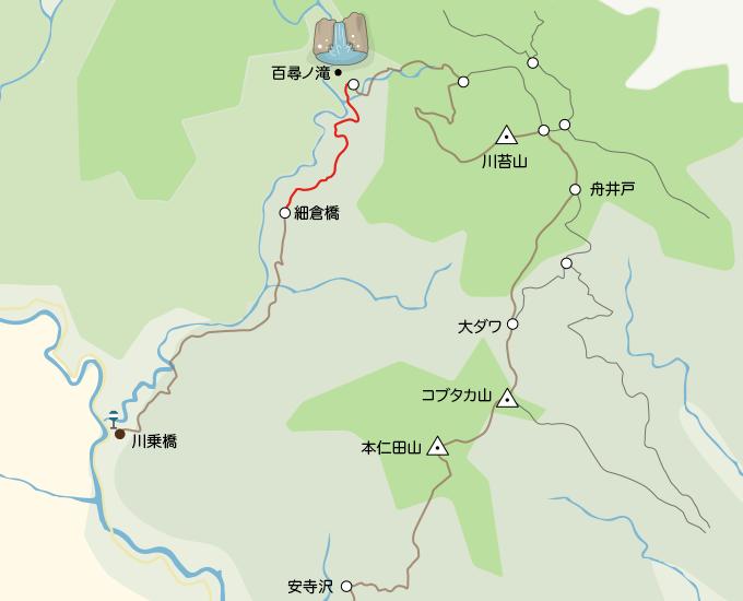 川苔山地図細倉橋から百尋ノ滝まで