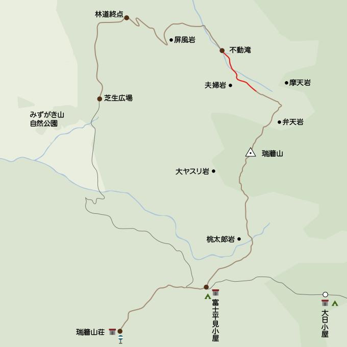 地図摩天岩手前から不動の滝