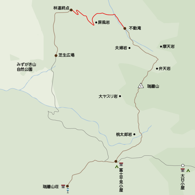地図不動の滝から林道終点まで