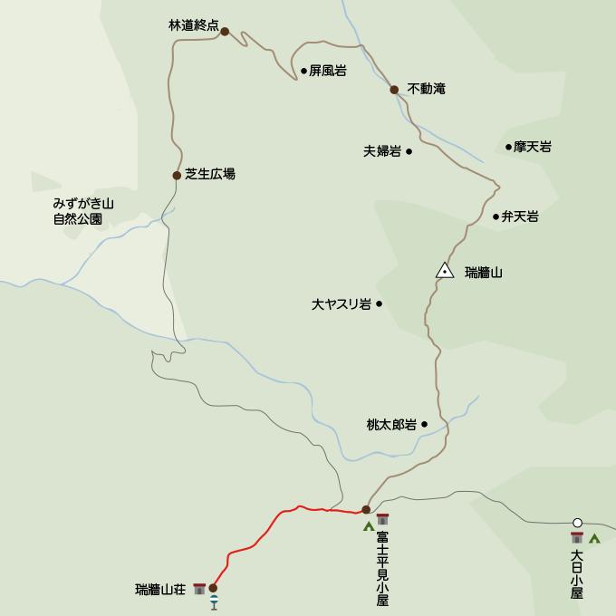 瑞牆山地図みずがき山荘から富士見平小屋