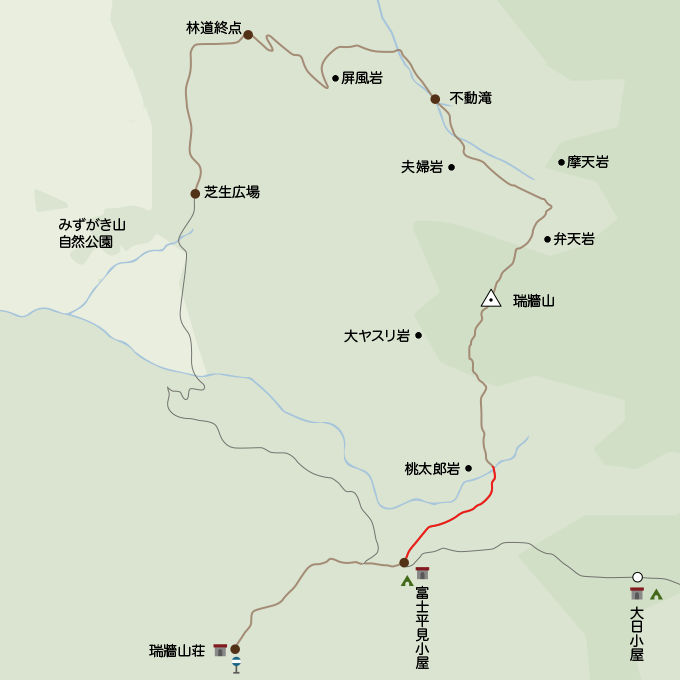 瑞牆山地図富士見平小屋から桃太郎岩