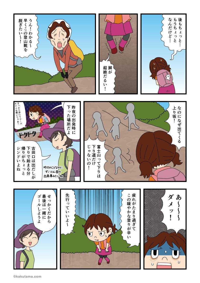 吉田口五合目まで後もうチョットの登りが辛い漫画