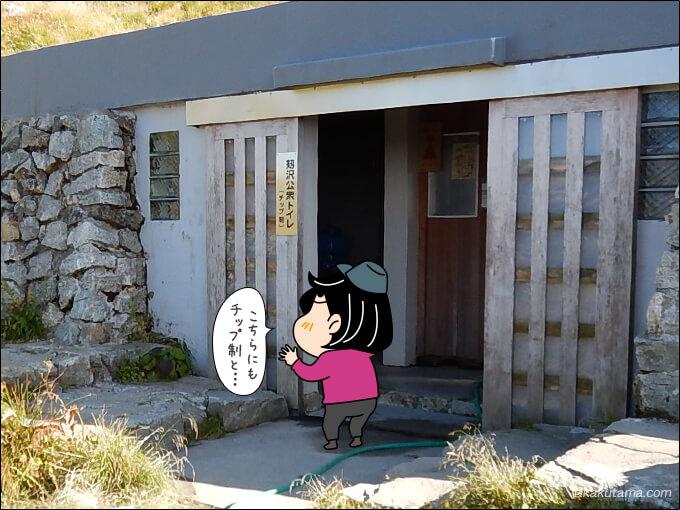 チップ制と書かれたテント場のトイレ