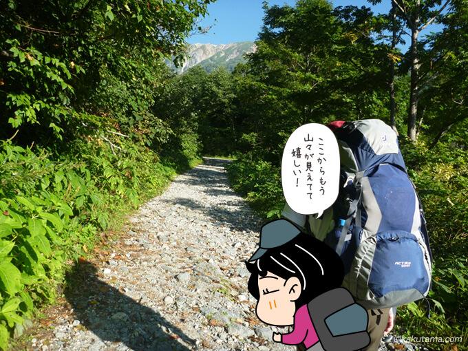 猿倉から出発してすぐに見える山々