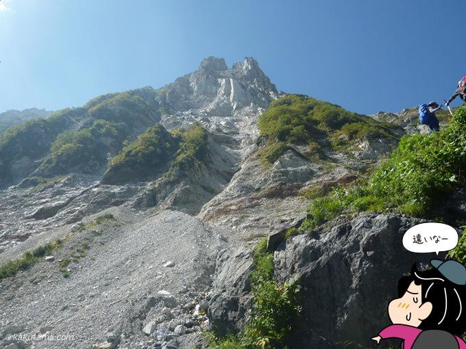 白馬大雪渓から見上げる山々