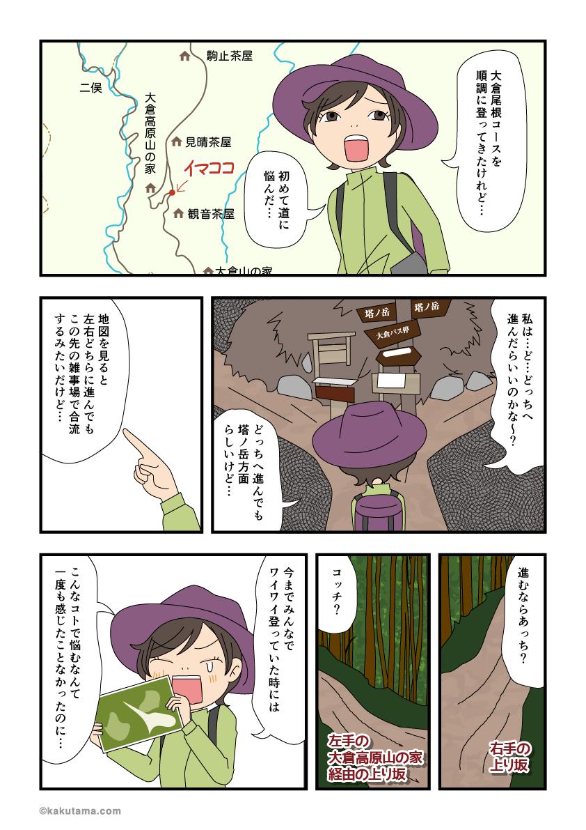 登山道の分岐点に心が迷う漫画
