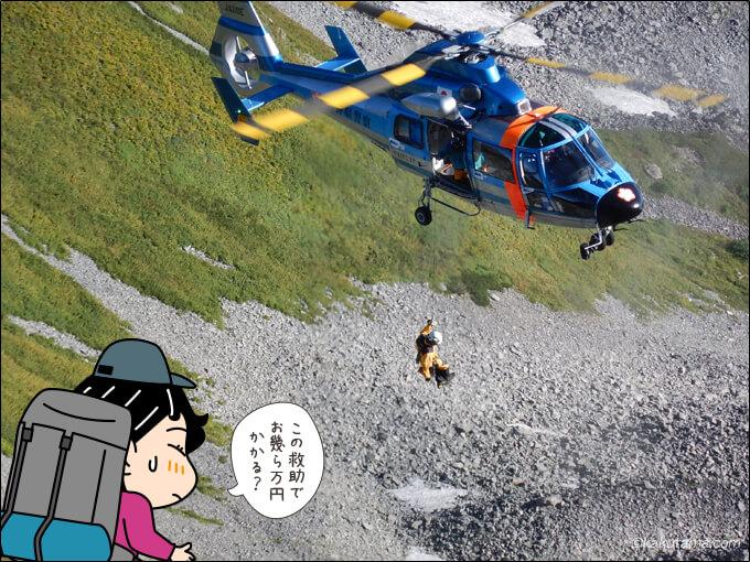 山岳救助の現場の写真