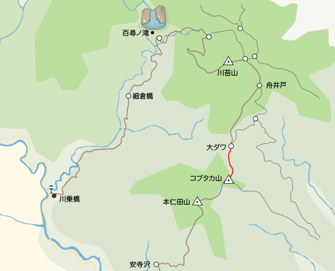 川苔山地図大ダワ分岐からコブタカ山
