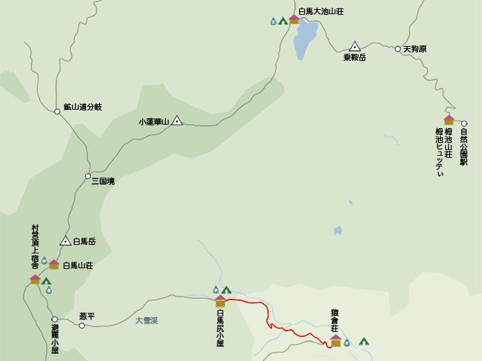 白馬岳地図猿倉荘から白馬尻小屋