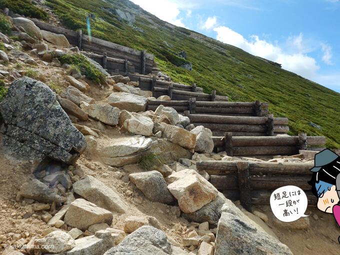 大天井岳への最後の登りの階段