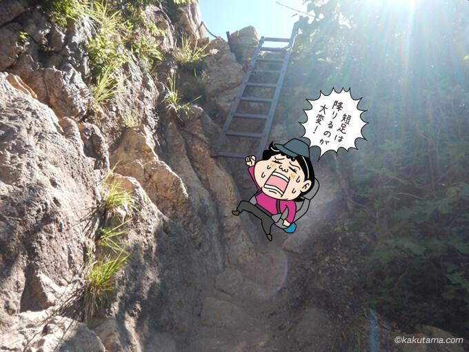 ハシゴと岩場を下る