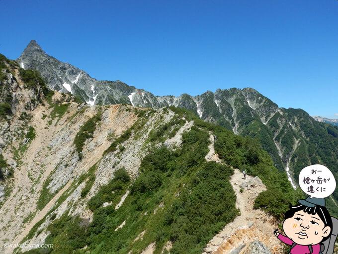 登り終えると槍ヶ岳が見える