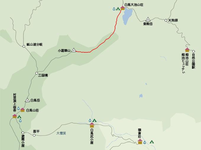 白馬岳地図小蓮華山から白馬大池まで