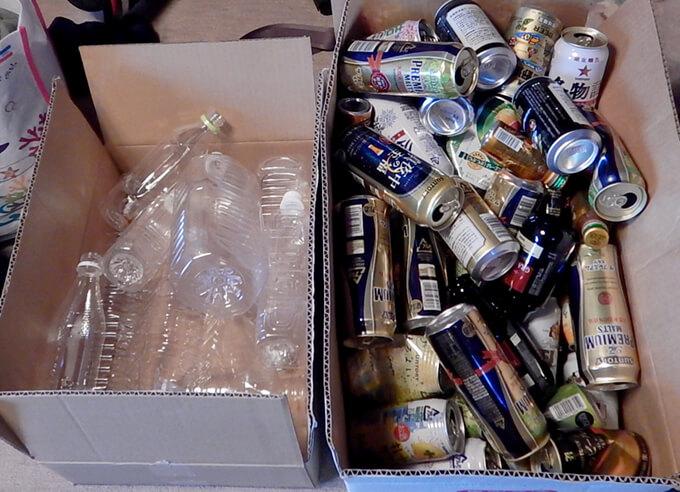 大量の空き缶