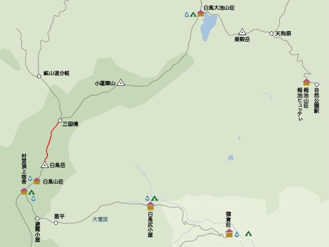 白馬岳地図白馬岳から三国境