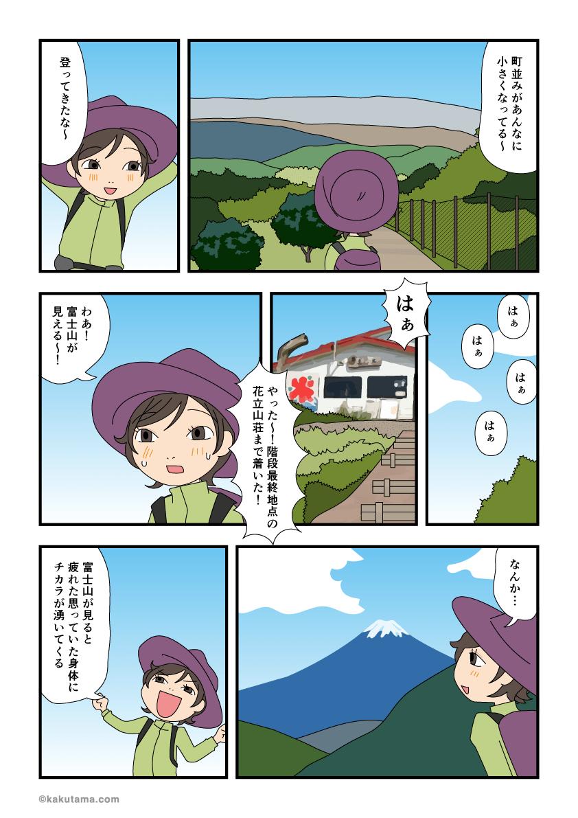 花立山荘から見る富士山がきれいな漫画
