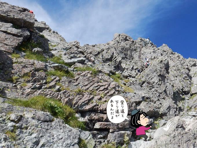 槍ヶ岳を上り始める1