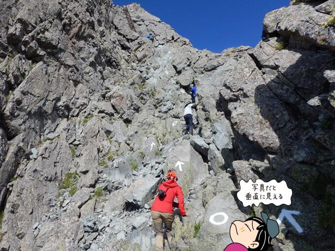 槍ヶ岳の登山道にはペンキマーク