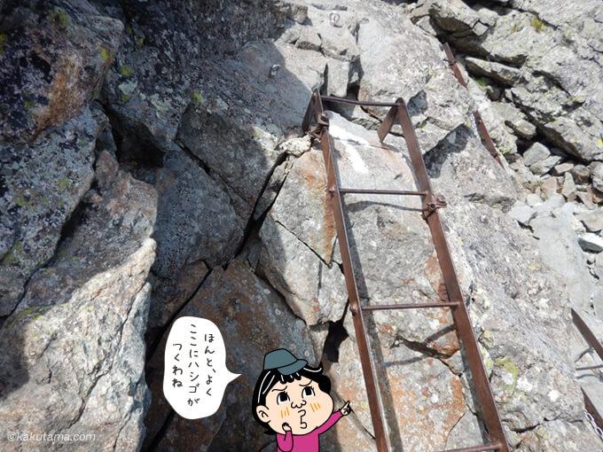 槍ヶ岳に取り付けられているハシゴ