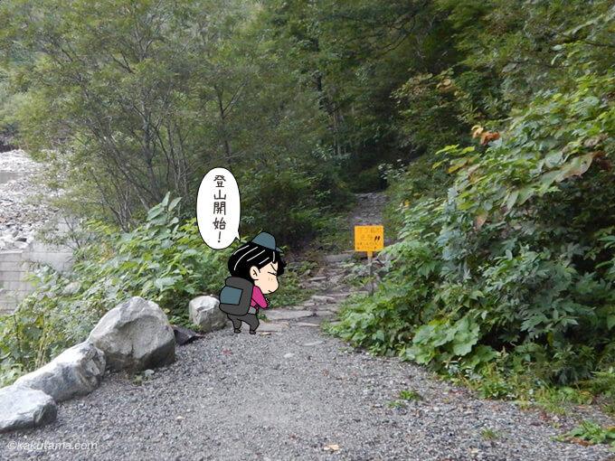 柏原新道登山口へ