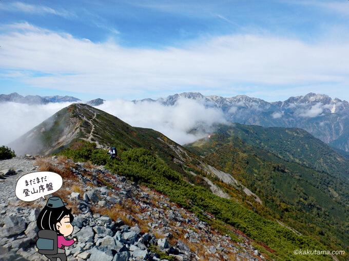 爺ヶ岳中峰山頂から見える山