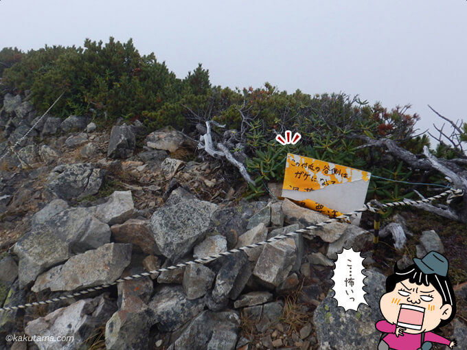 この先崖の看板