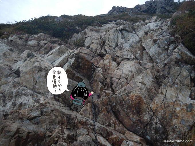 垂直な鎖場を登る