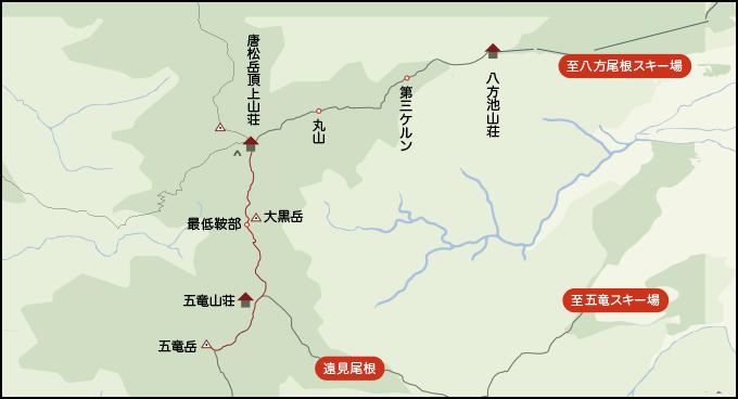 五竜山荘から唐松頂上山荘までの地図