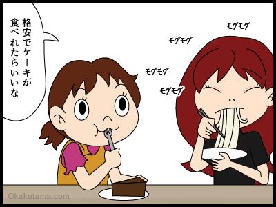 燕山荘のケーキフェアのクイズにする4コマ漫画3