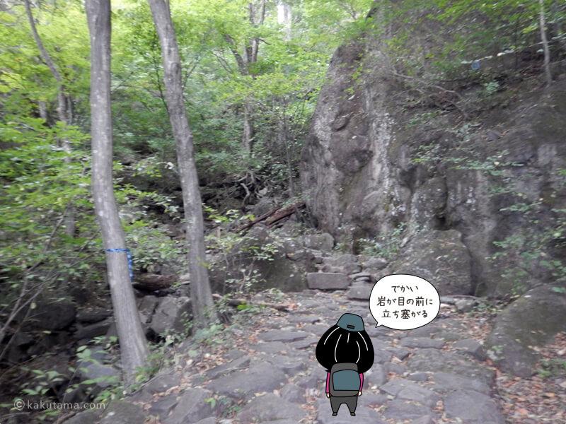 大きな岩が立ちふさがる