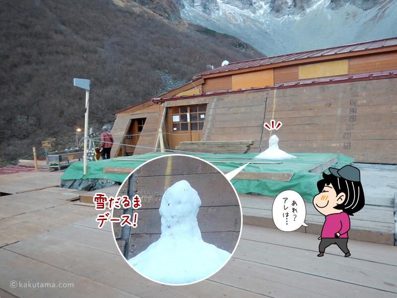 涸沢ヒュッテのテラスの雪だるま