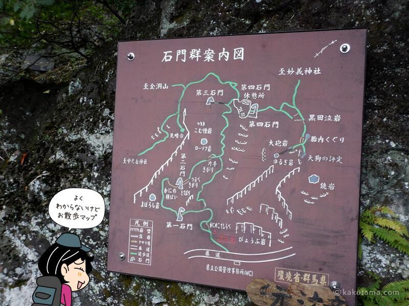 石門コースの案内板