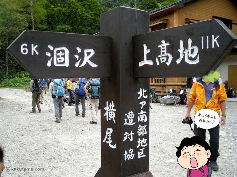 横尾山荘の道標