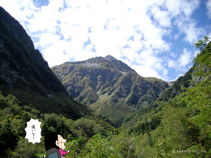 北穂高岳を見上げる