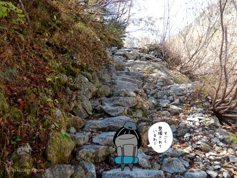 階段状の登り道