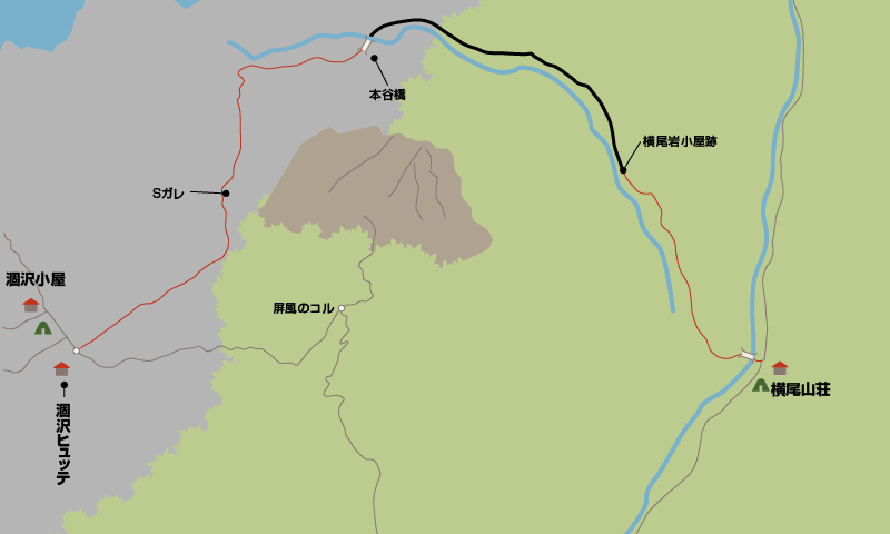 横尾大橋から涸沢ヒュッテまでの地図_0002